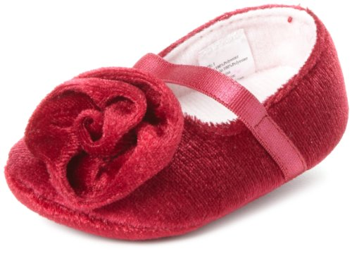 Little Me Baby-Girls Newborn Velvet Mary Jane Socks With Rose Trim