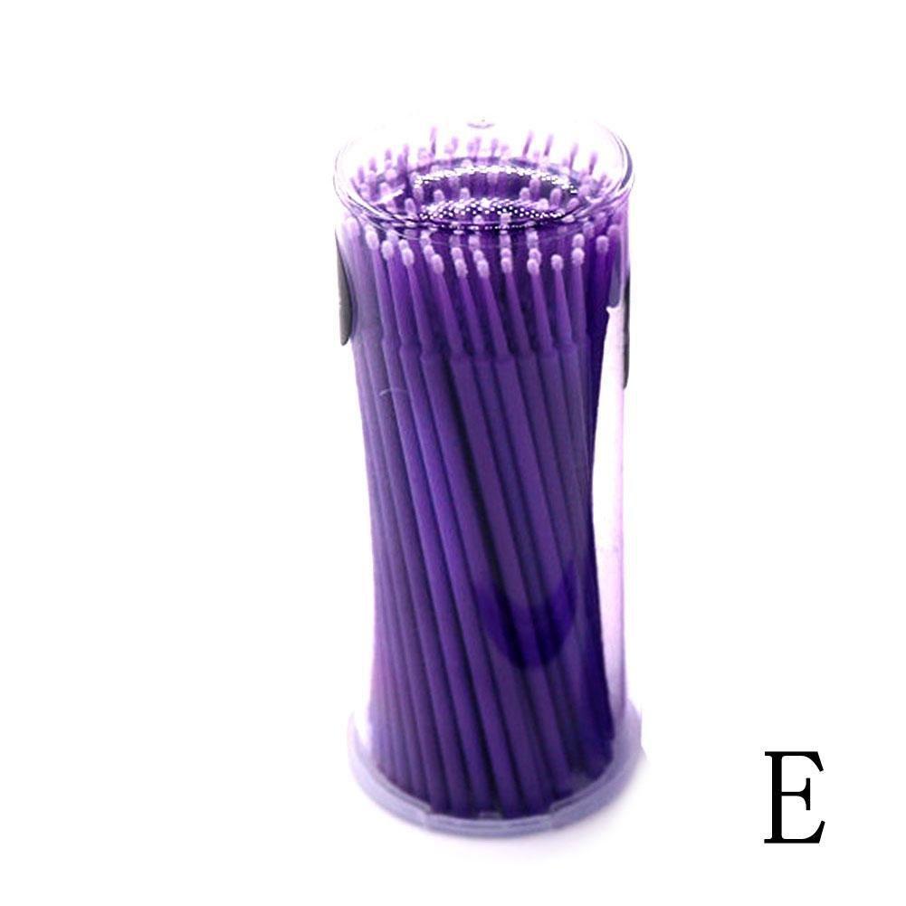 Gracefulvara 100 Pcs Disposable Micro Brushes Cotton Swab Applicators Tube for Eyelash Extension Glue Removal Lashes Graft Tools, Light-purple(S)