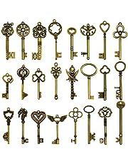 24Pcs Large Antique Bronze Skeleton Keys Rustic Key for Wedding Decoration Favor, Necklace Pendants, Jewelry Making