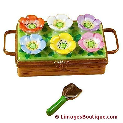 FLOWER BOX WITH SPADE - LIMOGES BOX AUTHENTIC PORCELAIN FIGURINE FROM FRANCE (Flowers Limoges Box)