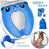 2019 Upgrade Portable Potty Seat with Splash Guard for Toddler, Foldable Travel Potty Seat with Carry Bag, Non-Slip Pads Toilet Potty Training Seat Covers for Baby, Toddlers and Kids (Blue): more info