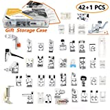 42 pcs Presser Feet Set with Manual & Case & Adapter SIMPZIA Sewing Machine Foot Kit for Brother, Babylock, Janome, Singer,Elna, Toyota, New Home, Simplicity, Necchi, Kenmore, White (Low Shank)