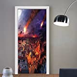 Niasjnfu Chen custom made 3d door stickers War Home Decor Apocalypse in City by Giant Meteorite Fire in Buildings World End Disaster Theme Yellow For Room Decor 30x79