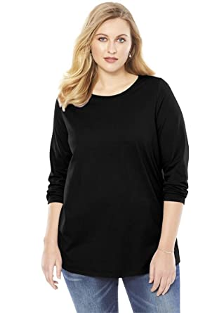 a9a1800b Image Unavailable. Image not available for. Color: Roamans Women's Plus Size  Long-sleeve Crewneck Ultimate Tee ...