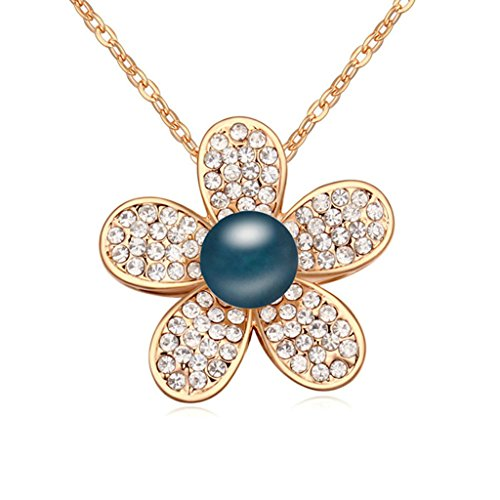 Daesar Gold Plated Women's Flower Synthetic Crystal Necklace CZ Zirconia - King Sun Brewing