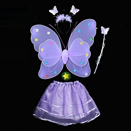 Baby Penguin Costume Uk (4 Pcs Wings Wand Set for Baby Girls Dress up Birthday Halloween Party Favor Gift (Purple))
