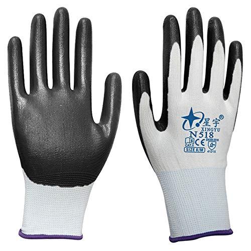 MYFGBB Labor Insurance Gloves, Nitrile Dipped Thin Protective Gloves wear-Resistant Anti-Slip Acid and Alkali Work Gloves Gardening Construction Mechanics 5 - 710 Mechanics Gloves