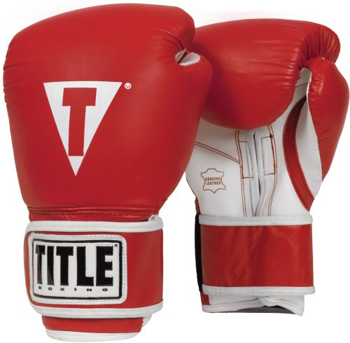 TITLE Boxing Pro Style Leather Training Gloves, Red/White, 14 oz