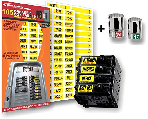 Circuit Breaker Decals + Chrome Socket Labels for tool organizing, great for Home Owners, Apartment Complexes and Electricians with our Breaker Box/Panel Label Set you wont get caught in the dark