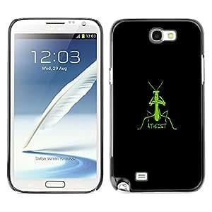 A-type Arte & diseño plástico duro Fundas Cover Cubre Hard Case Cover para Samsung Note 2 N7100 (Ateo Praying Mantis - Gracioso)