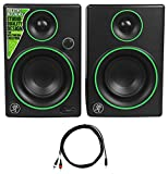 Package: Pair of Mackie CR3 3'' Creative Reference Multimedia Monitor Speaker With Front Headphone Jack and AUX + Rockville RNRMR10 10' Nickel-Plated 3.5mm 1/8'' TRS to Dual RCA Cable
