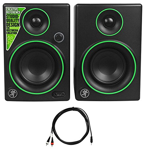 Package: Pair of Mackie CR3 3'' Creative Reference Multimedia Monitor Speaker With Front Headphone Jack and AUX + Rockville RNRMR10 10' Nickel-Plated 3.5mm 1/8'' TRS to Dual RCA Cable by Mackie