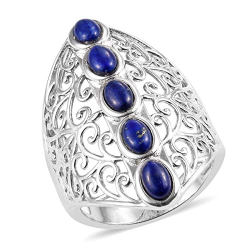 (Shop LC Delivering Joy Platinum 5 Stone Openwork Elongated Oval Lapis Lazuli Statement Ring for Women Jewelry Gift Size 7)