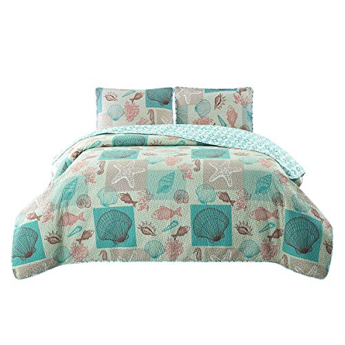 HollyHOME 3 Piece Printed Quilt Coverlet Set Full/Queen Size 86×86 with 2 Shams Lightweight Design for Spring and Summer Microfiber Bedspread Sets, Coral and Blue, Coastal Style Shell Pattern