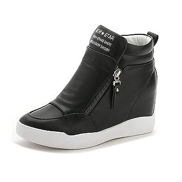 Womens Black White Zippers High Top Hidden Wedge Sneakers