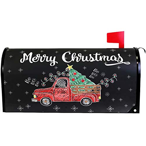 Wamika Merry Christmas Tree Snowflake Red Truck Mailbox Cover Magnetic Standard Size,Winter Santa Claus Letter Post Box Cover Wrap Decoration Welcome Home Garden Outdoor 21