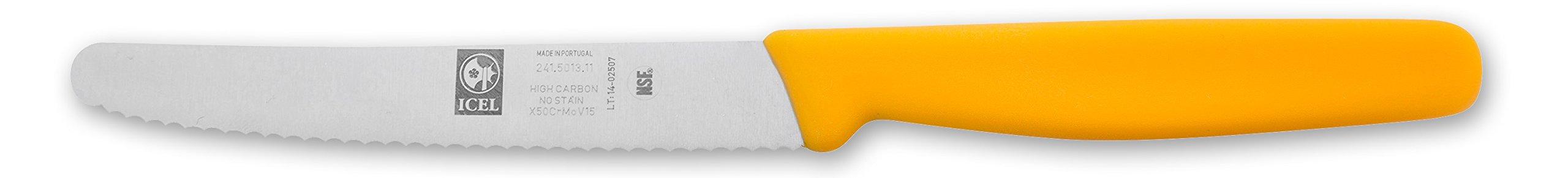 Icel Steak Knife, 4-1/4 Wavy-Edge Blade, Yellow Plastic Handle by Icel