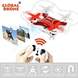 Global Drone GW009C-1 Mini Drone with 0.3MP Camera Headless Mode Quadcopter 2.4GHz 6-Axis 4 Channels One-button Take off and Landing (Red)