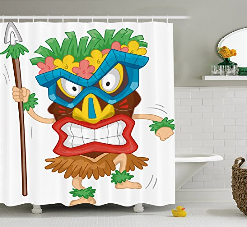 Ambesonne Tiki Bar Shower Curtain, Native Man Wearing a Mask Illustration Cartoon Tribal Costume Primitive Ritual, Fabric Bathroom Decor Set with Hooks, 105 Inches Extra Wide, (Best Costume Ideas For Couples)