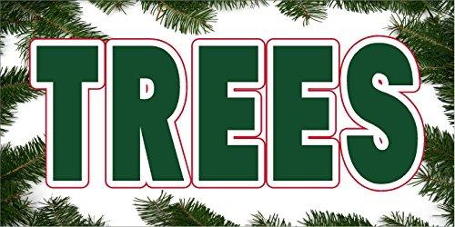CHRISTMAS TREE TREES VINYL BANNER 2' X 4' PINE TREE BORDER (Pine Tree Border)