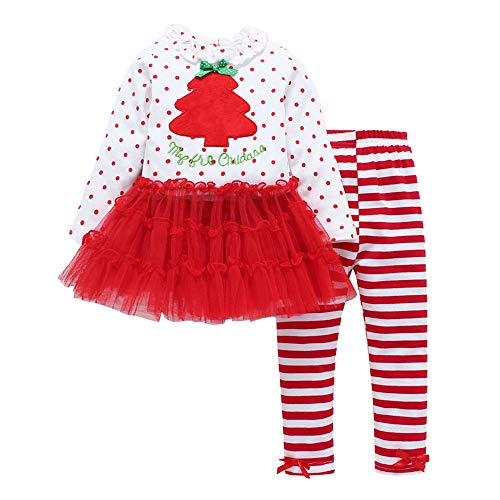 Lollyeca Toddler Baby Girl Christmas Tree Print Mesh Tops+Stripe Pants Outfits for $<!--$10.66-->