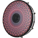 Remo Tablatone Frame Drum, Tunable, SKYNDEEP Clear Tone P3 Drumhead, 'Red Radial Flare' Graphic, 12'' x 2'', Antique Brown And White Finish