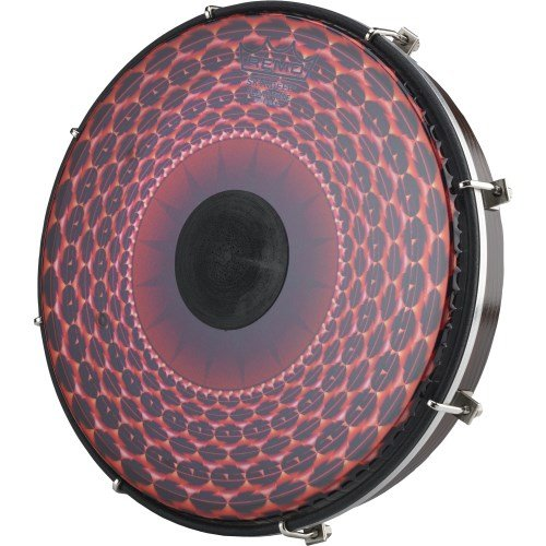 Remo Tablatone Frame Drum, Tunable, SKYNDEEP Clear Tone P3 Drumhead, 'Red Radial Flare' Graphic, 12'' x 2'', Antique Brown And White Finish by Remo