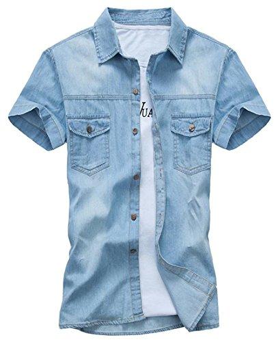 H&E Mens Vogue Denim Short Sleeve Relaxed Fit Button Down Shirt Light Blue M