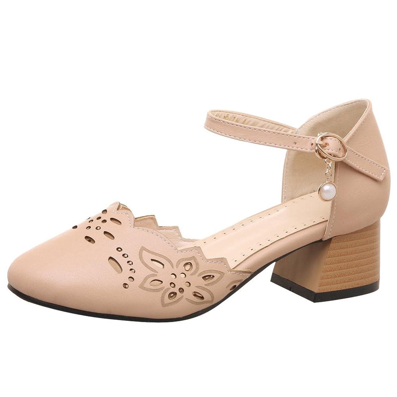 Carolbar Women's Buckle Retro Sweet Mid Heel Mary Janes Shoes Sandals