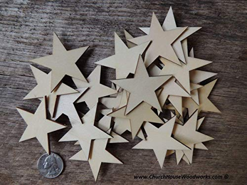 Christmas Wood Star Ornaments DIY-Christmas Village Sets, Supplies and Accessories-2 Inch Wooden Stars-Set of 50