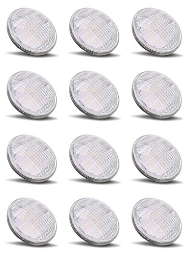 PAR36 LED 12Watt Light Bulb Outdoor Garden Landscape Lighting Low Voltage 12V AC DC AR111 G53 Landscaping Yard Entrance Path Spot IP65 Lamp 6000k Pure White 12 Volt Pool Accent Lights Value 12W 12Pack