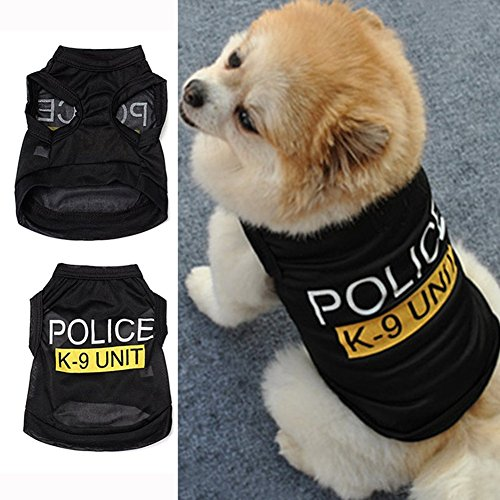 Cute Dog Clothing (Pet Dog Summer Clothes, Cute Teddy Dog Cute Cat Thin Fashion Cotton Vest T Shirt Cloth Costumes (S, Black))
