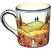 CERAMICHE D'ARTE PARRINI - Italian Ceramic Art Pottery Mug Cup Decorated Poppies Landscape Hand Painted Made in ITALY Tuscan
