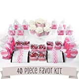 Chevron Pink - DIY Party Favors Kit - 40 Piece Decoration Set