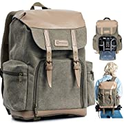 TARION M-02 Canvas Camera Backpack with Inner Compartments Large DSLR Mirrorless Photography Bag Water-Repellent for…