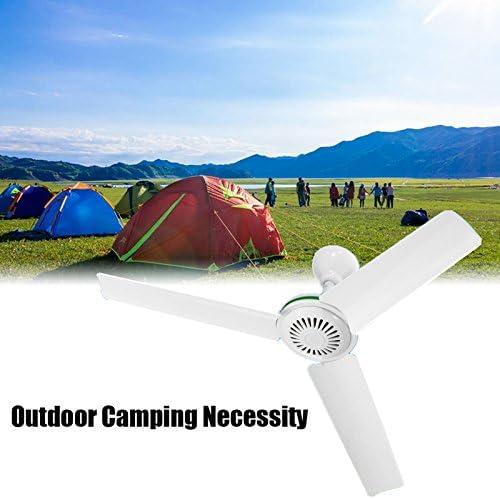Gordan DC 24V Solar Power Ceiling Fan Portable Solar Fan with Switch 3 Blade Caravan Camp Anti-mosquito Mute Mini Ceiling Fan