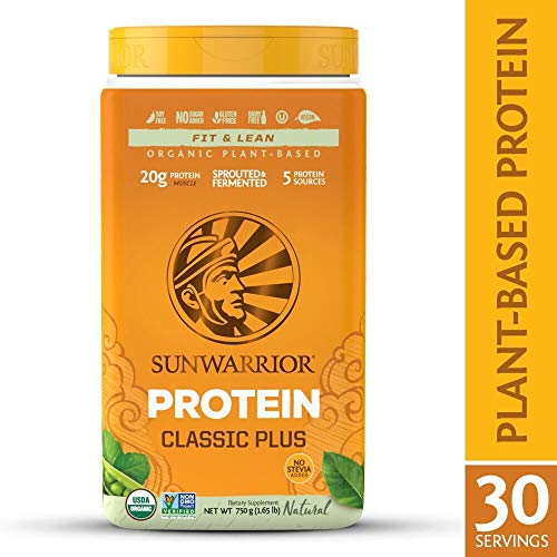 Sunwarrior – Classic Plus, Vegan Protein Powder with Peas & Brown Rice, Raw Organic Plant Based Protein, Natural, 30 Servings