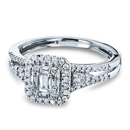 1/2 Carat TDW Baguette and Round Diamond Cluster Halo Split Shank Accented Engagement Ring 14k White Gold, 6.5