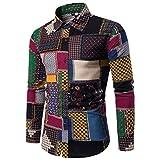kaifongfu Mens Shirt, Casual Long Sleeve Shirt Business Slim Fit Print Blouse Top (XL4, Multicolor)