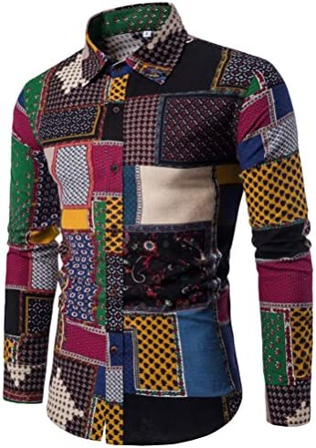 Mens Camisa, kaifongfu Casual Business slim fit Impresión Manga Larga Blusa parte superior