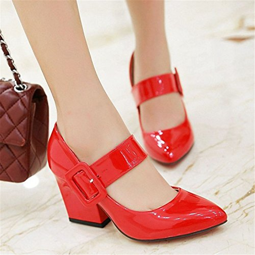 - Party Pumps Women Shoes Pointed Toe Thick High Heels Big Strap Female Sweet Mary Jane Pumps Plus Size Red 10.5