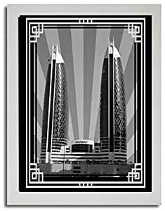 Photo of Damac Tower-Black And White With Silver Border No Text F03-NM (A4)