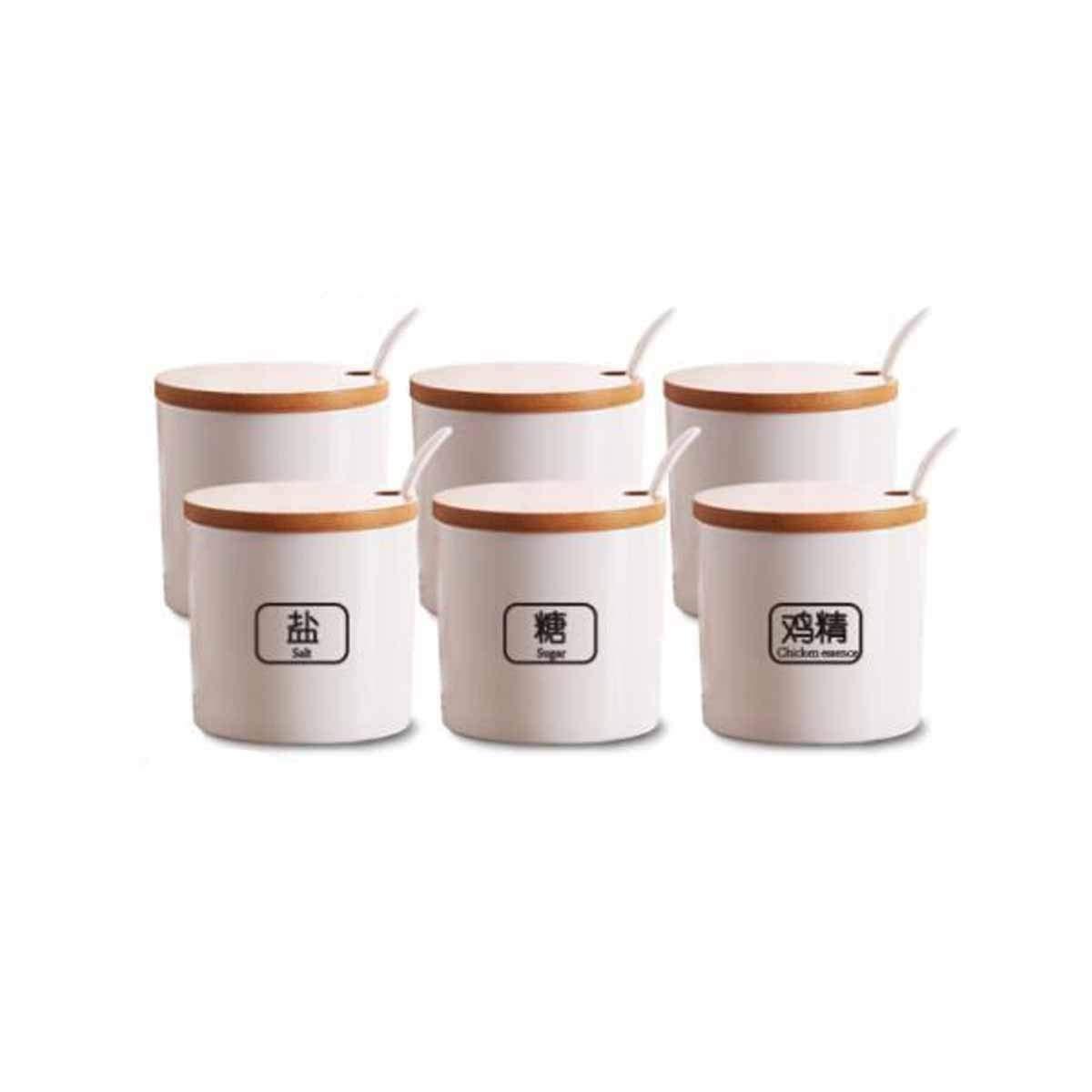 MINGRUIGONGMAO Seasoning Box, Multi-function Kitchen Salt And Sugar Storage Box, Creative Seasoning Box With Lid, 4/6/8 Jar With Spoon Spoon Box Plush toys (Size : 6) by MINGRUIGONGMAO