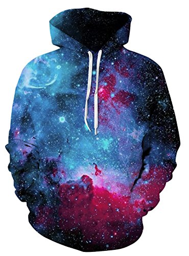 Cool Hooded Long Sleeve (FEOYA Men 3D Printed Hoodies Long Sleeve Graphic Hooded Sweatshirts Cool Multicolored Patterned Pullover Sweaters Red Tag L/US M)