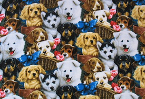 Puppies Fleece Blanket (Cute Puppies In Basket Allover Fleece Throw Blanket)