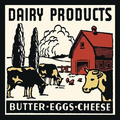 "Dairy Products-Butter, Eggs, Cheese by Retro Series, Art Print Poster, Paper Size 12"" x 12"" Image Size 11"" x 11""(1132)"