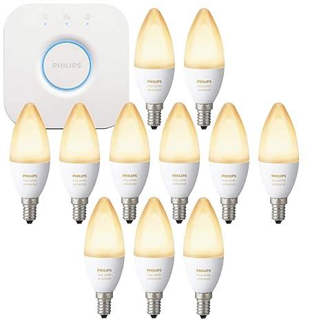 Bombilla luz blanca LED Philips Hue White Ambiance E14 6W ZigBee Echo Alexa compatible-
