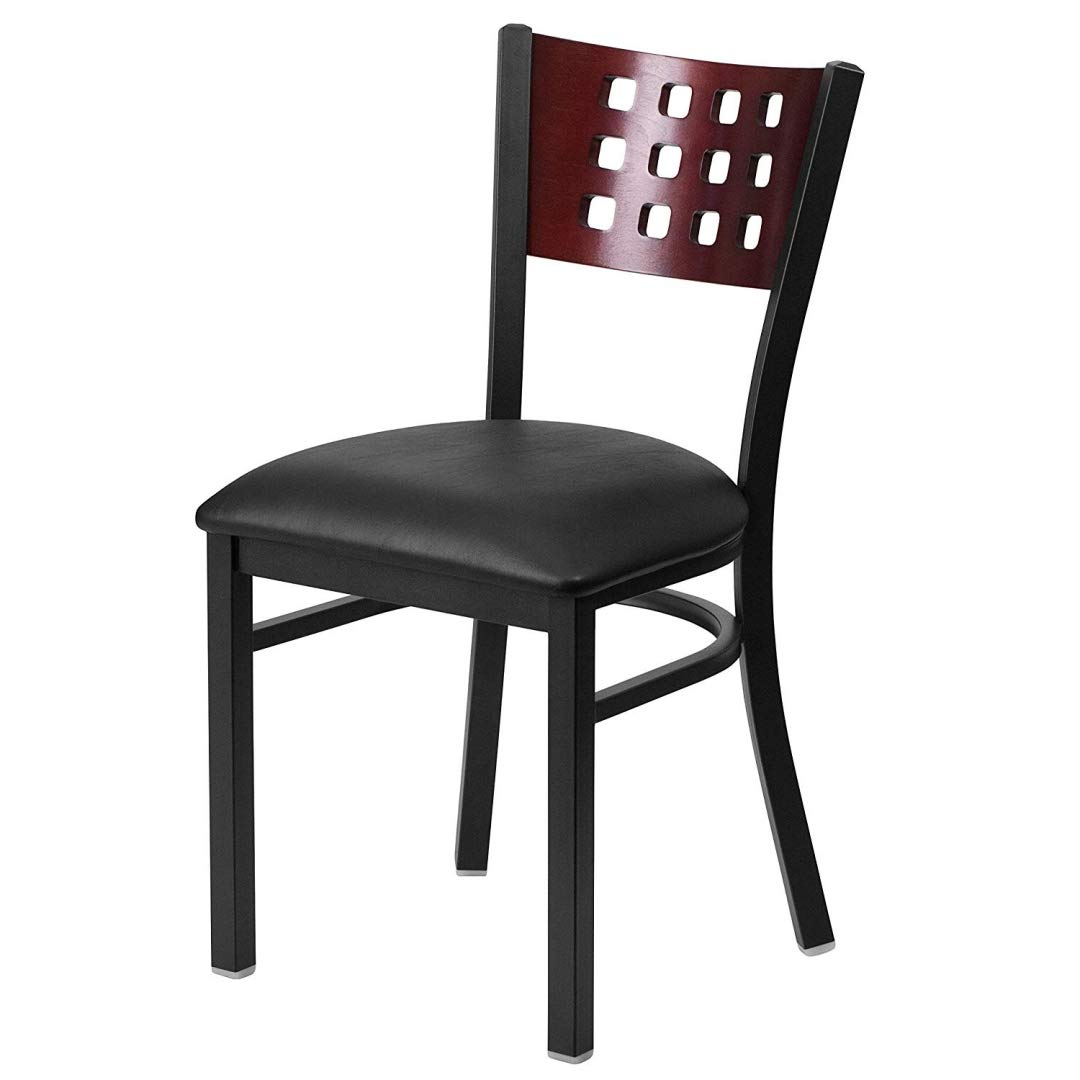 Modern Style Metal Dining Chairs Bar Restaurant Commercial Seats Mahogany Wood Cutout Back Design Black Powder Coated Frame Home Office Furniture - (1) Black Vinyl Seat #2206 by KLS14 (Image #1)