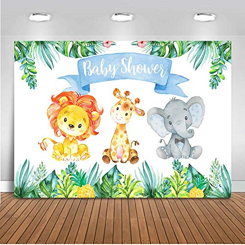 Mehofoto Safari Jungle Baby Shower Backdrop Elephant Party Animals Photography Background 7x5ft Vinyl Watercolor Animals Baby Shower Party Banner Backdrops -