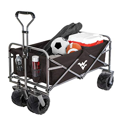 Smart Design Collegiate Heavy-Duty Utility Collapsible Wagon - Beach Cart - 20.15 x 35.5 x 22.5 inch - University of West Virginia - Officially Licensed Logo - Black & White Colors - [Mountaineers]